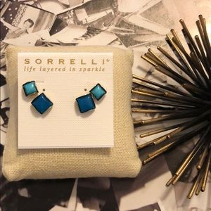 Sorrelli Blue Square Stud Earring Set